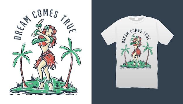 Ilustração de mulher havaiana