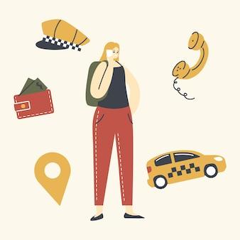 Ilustração de mulher jovem com mochila na rua call com smartphone para pedir um táxi