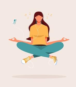 Ilustração de mulher jovem fazendo ioga, meditação, relaxamento, recreação, estilo de vida saudável