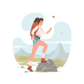 Ilustração de mulher moderna com mochila