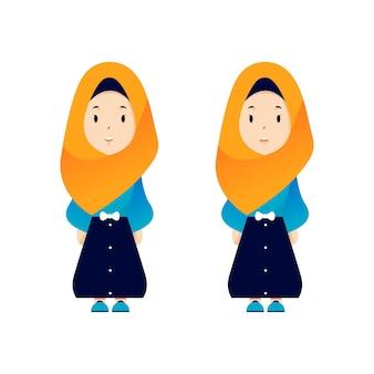 Ilustração de mulher muçulmana chibi com duas expressões