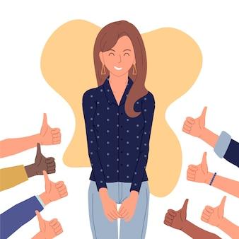 Ilustração de mulher, obtendo aprovação pública