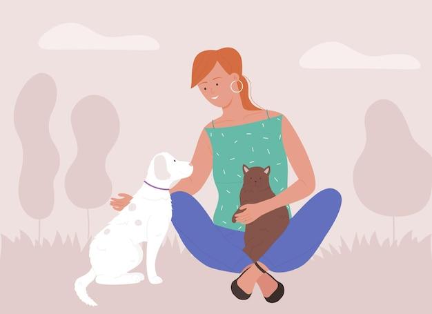 Ilustração de mulher passando um tempo com animais de estimação