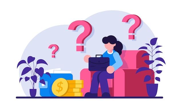 Ilustração de mulher preocupada com problema financeiro