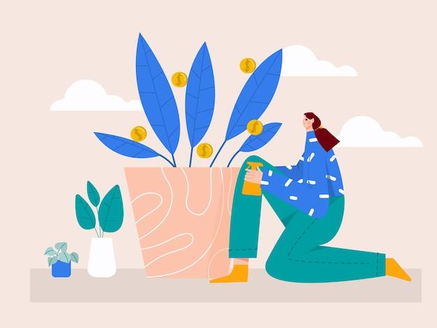 Ilustração de mulher regando a árvore do dinheiro