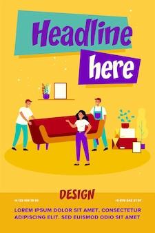 Ilustração de mulher se mudando para uma nova casa