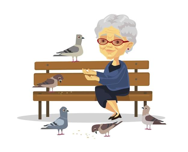 Ilustração de mulher velha alimentando pássaros