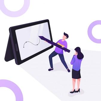 Ilustração de mulheres e homens estão desenhando no tablet pen