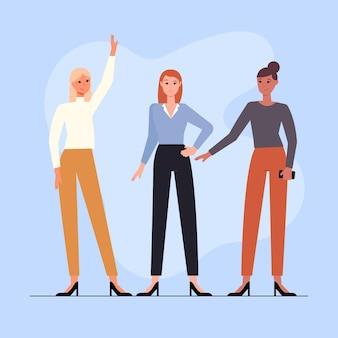 Ilustração de mulheres empresárias confiantes desenhada à mão livre