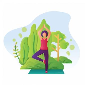 Ilustração de mulheres fazendo yoga na natureza