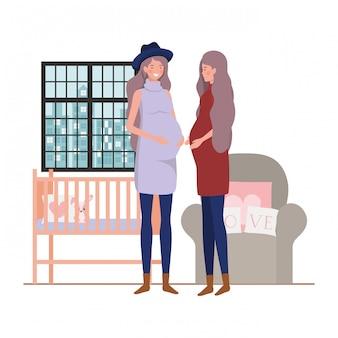 Ilustração de mulheres grávidas isoladas