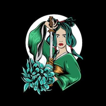 Ilustração de mulheres gueixas