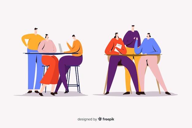 Ilustração de mulheres jovens a passar tempo juntos