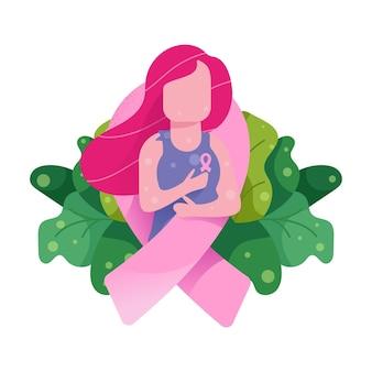 Ilustração de mulheres naturais para o dia do câncer de mama
