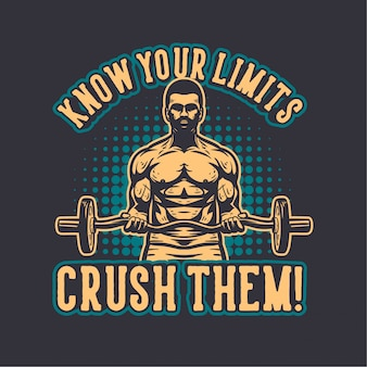 Ilustração de musculação com citações motivacionais
