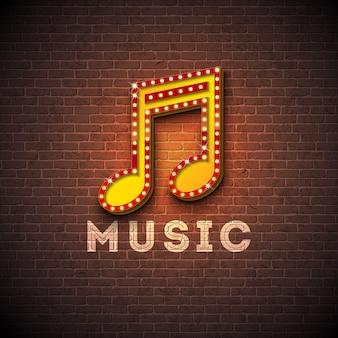 Ilustração de música com tabuleta de iluminação nota musical