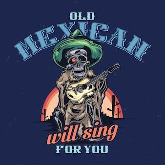 Ilustração de músico mexicano morto