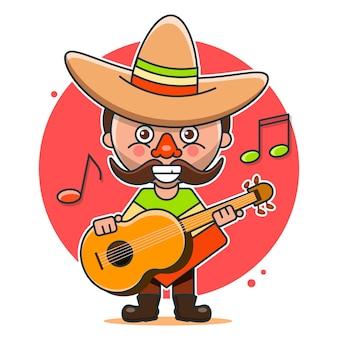 Ilustração de músicos mexicanos em roupas nativas e sombreros