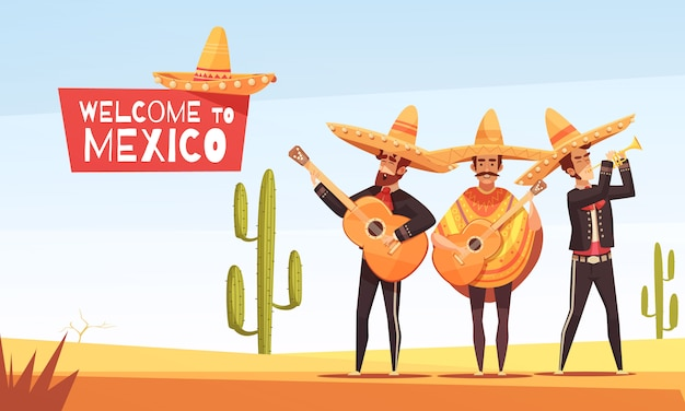 Ilustração de músicos mexicanos
