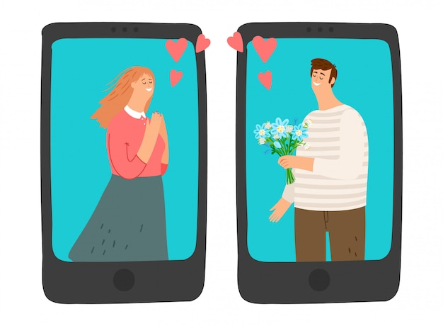 Ilustração de namoro online