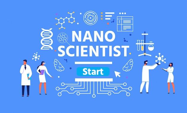 Ilustração de nano cientista masculina e feminina