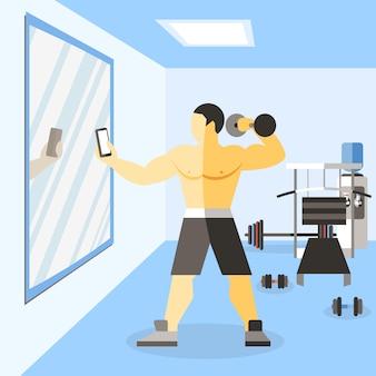 Ilustração de narciso fisiculturista