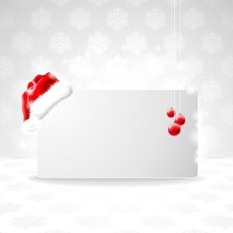 Ilustração de natal com boné de papai noel.