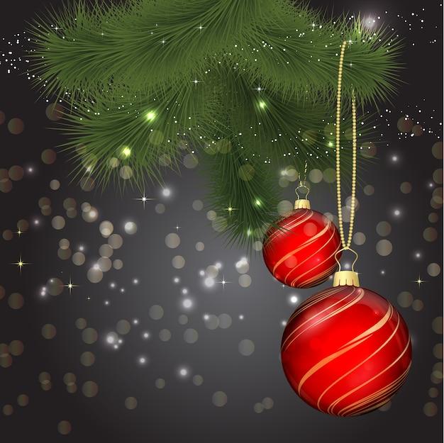 Ilustração de natal com enfeites e galho de árvore do abeto