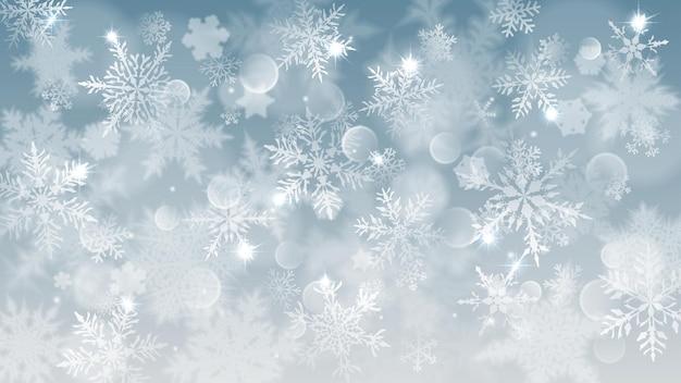 Ilustração de natal com flocos de neve brancos desfocados