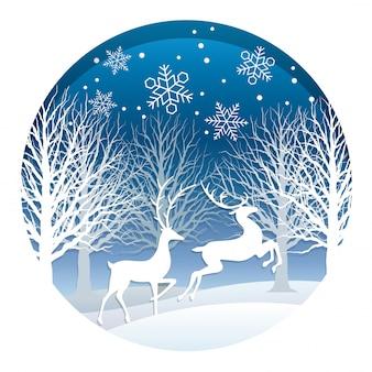 Ilustração de natal com floresta e renas