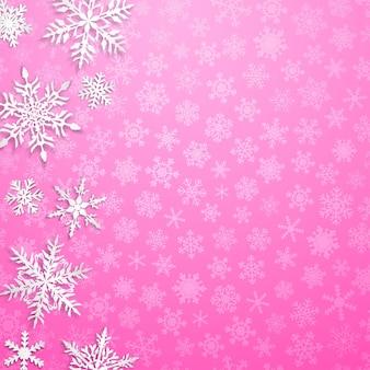 Ilustração de natal com grandes flocos de neve brancos com sombras no fundo rosa