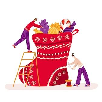 Ilustração de natal com meia e presentes
