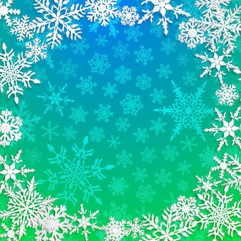 Ilustração de natal com moldura circular de grandes flocos de neve brancos com sombras em fundo azul claro