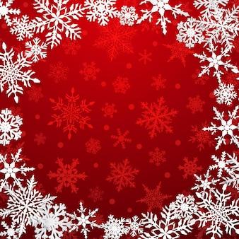 Ilustração de natal com moldura circular de grandes flocos de neve brancos com sombras em fundo vermelho