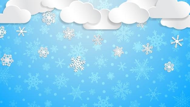 Ilustração de natal com nuvens brancas e flocos de neve em fundo azul claro