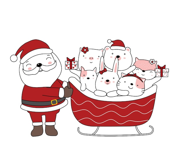 Ilustração de natal com papai noel e animal bebê fofo com carro de papai noel. estilo cartoon desenhado à mão