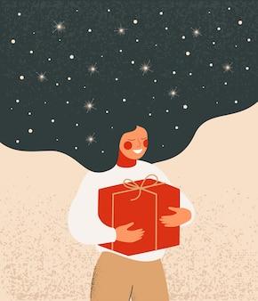 Ilustração de natal com uma mulher sonhadora com cabelo a voar segura a caixa de presente vermelha