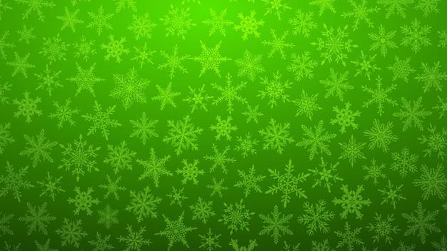 Ilustração de natal com vários flocos de neve pequenos em fundo gradiente em cores verdes