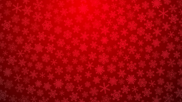 Ilustração de natal com vários flocos de neve pequenos em fundo gradiente em cores vermelhas