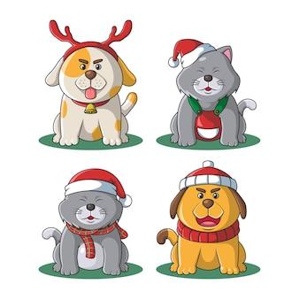 Ilustração de natal de mascote de gato e cachorro fofo