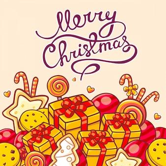 Ilustração de natal de objetos vermelhos e amarelos e texto escrito à mão