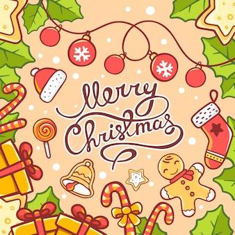 Ilustração de natal de objetos vermelhos e verdes e texto escrito à mão