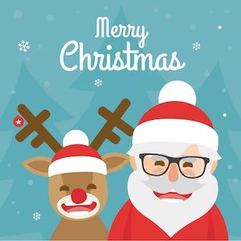 Ilustração de natal de papai noel e rena cheirada vermelha sobre fundo azul