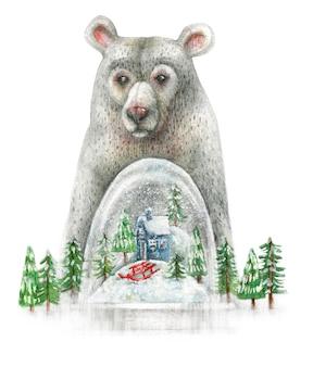 Ilustração de natal de um urso e um globo de neve com árvores e uma casa