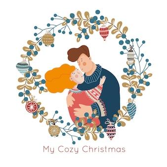 Ilustração de natal do casal bonito dos desenhos animados e coroa decorativa