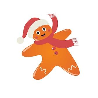 Ilustração de natal e ano novo com boneco de gengibre feliz com chapéu de papai noel