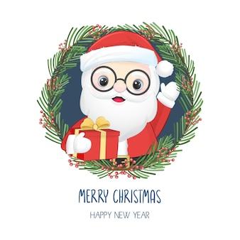 Ilustração de natal e ano novo fofa de papai noel e guirlanda de natal