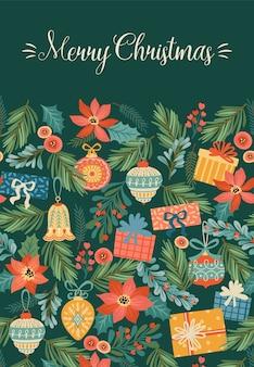 Ilustração de natal e feliz ano novo com decorações de natal.