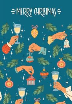 Ilustração de natal e feliz ano novo com mãos masculinas e femininas.