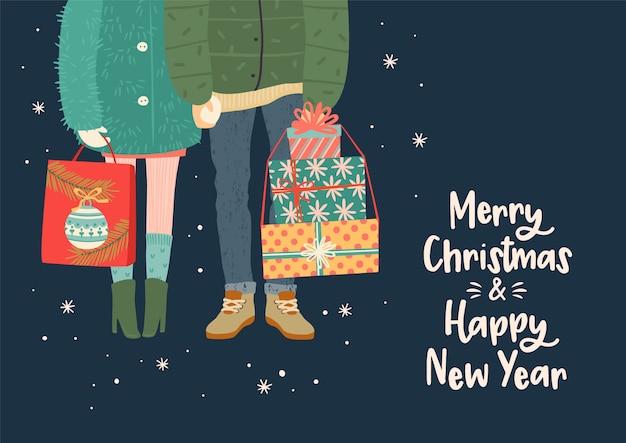 Ilustração de natal e feliz ano novo com par romântico com presentes
